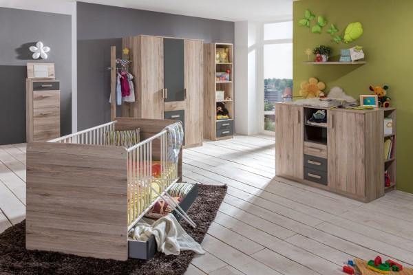 Babyzimmer Babyzimmer Cariba 8 teilig Eiche San Remo und Graphit +++möbel-direkt+++schnell und günstig