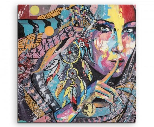 Ölgemälde Nachdruck – Farbenfrohe Frau mit Traumfänger auf Leinwand