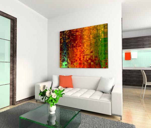 120x80cm Wandbild Kunst Hintergrund abstrakt Pixel rot grün gelb