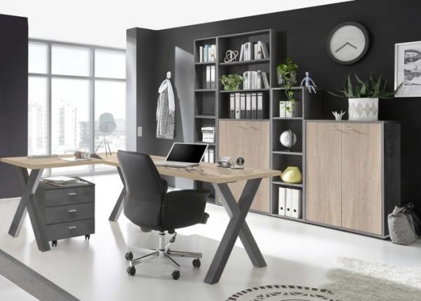 Büromöbel Mister Office in Graphit und Eiche Sägerau 6 teiliges Megaset mit Eckschreibtisch und Roll