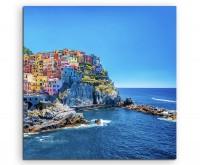 Landschaftsfotografie – Farbenfroher Hafen, Cinque Terre, Italien auf Leinwand