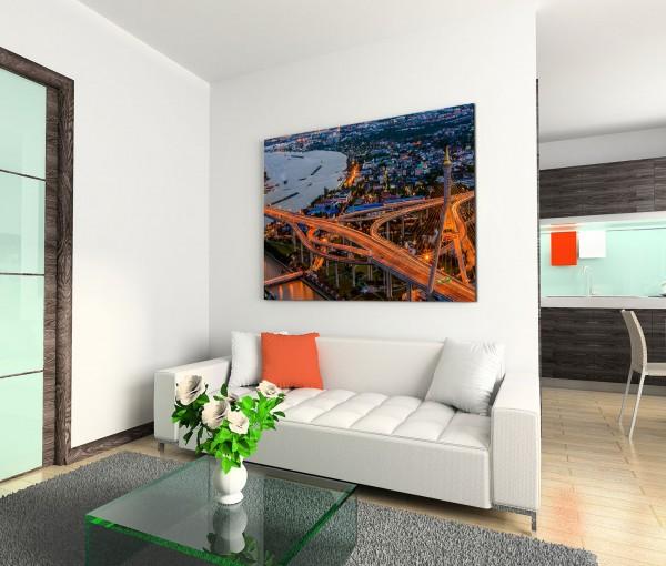 120x80cm Wandbild Bangkok Brücke Verkehr Gebäude Nacht Lichter