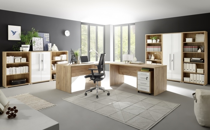 b ro office eiche riviera honig hochglanz wei 8 teilig m bel. Black Bedroom Furniture Sets. Home Design Ideas