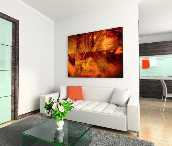 120x80cm Wandbild Wasserfarben Malerei abstrakt rot gelb braun