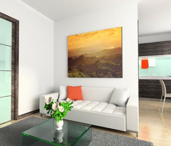 120x80cm Wandbild Italien Toskana Hügel Morgengrauen