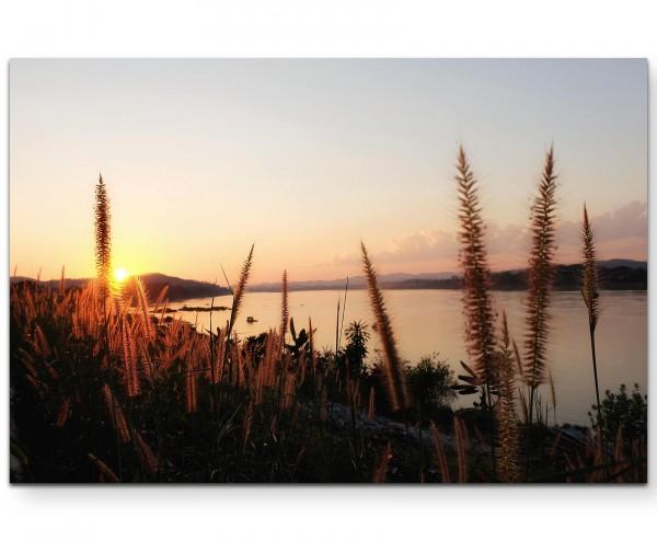 Sonnenuntergang am Fluss - Leinwandbild