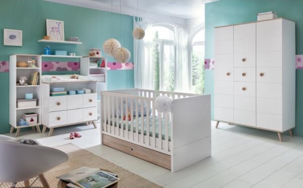 Babyzimmer Billund in Weiß und Eiche Sägerau von Wimex 8 teiliges Megaset mit Schrank, Bett mit Latt