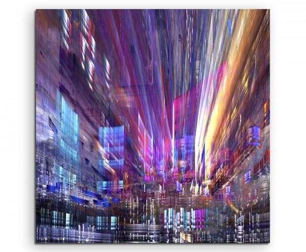 Digitales Gemälde – Großstadtverkehr bei Nacht auf Leinwand