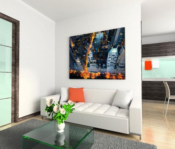 120x80cm Wandbild Manhattan Wolkenkratzer Straßen Nacht Lichter