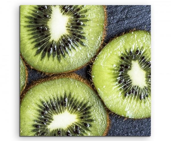 Food-Fotogradie – Aufgeschnittene Kiwi auf Leinwand