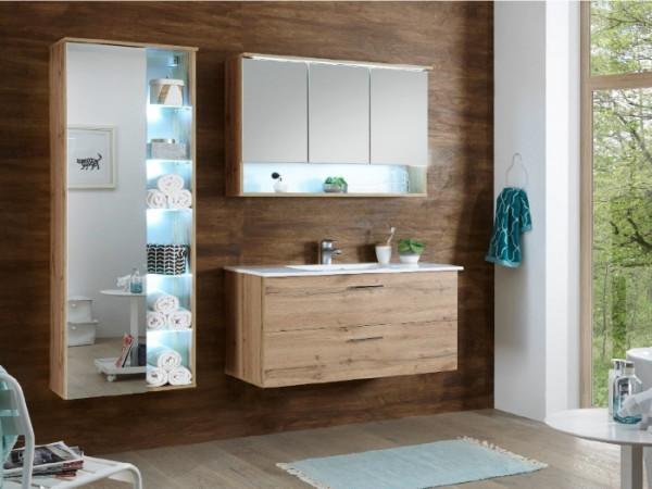 """Badezimmer Oak """"Best"""" in San Gallo 3 teilig mit Waschbeckenunterschrank inklusive Becken, Spiegelsch"""
