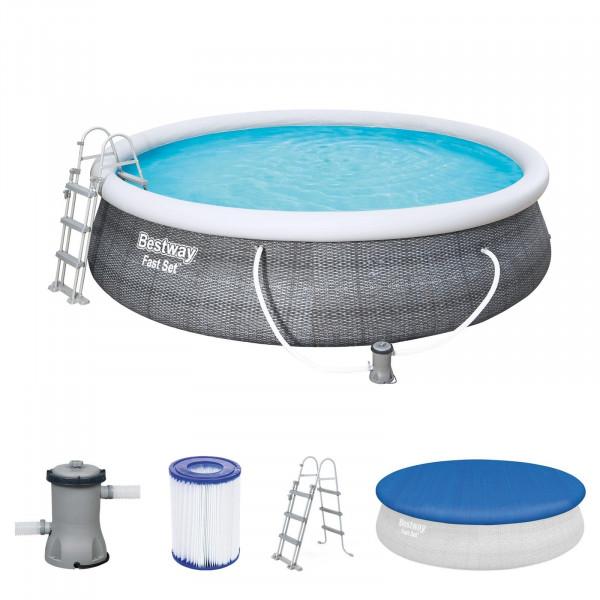 Bestway 57372 Fast Set Pool Ø 457 x 107 cm mit Filterpumpe Leiter Plane
