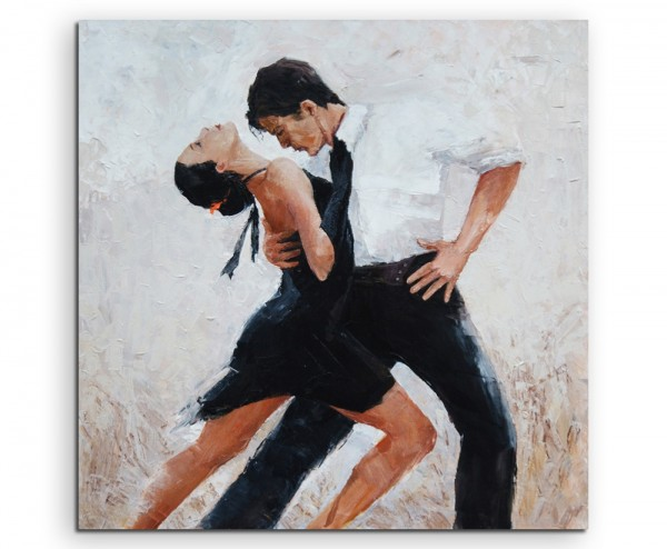 Digitales Gemälde – Tangotänzer mit weißem Hintergrund auf Leinwand