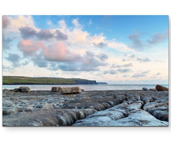 Landschaftsfotografie – Steinfelsen und Blick aufs Meer - Leinwandbild
