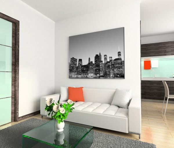120x80cm Wandbild Manhattan Skyline Nacht Lichter schwarz weiß