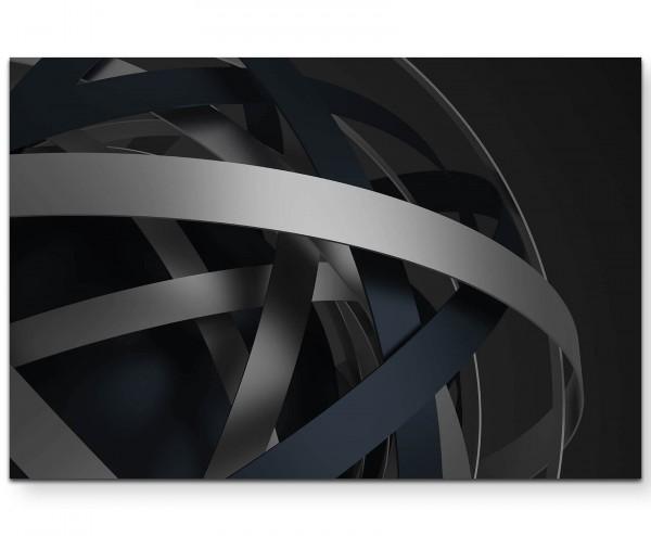 Abstraktes Bild – Ringe in schwarz und grau - Leinwandbild