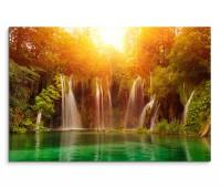120x80cm Wandbild Kroatien Nationalpark Wasserfall Sonne