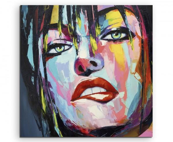 Farbenfrohes Portrait einer Frau mit grünen Augen auf Leinwand exklusives Wandbild moderne Fotografi