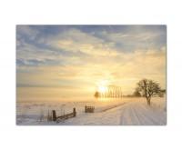 120x80cm Winterlandschaft Nebel Schnee Sonne