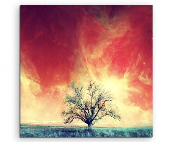 Künstlerische Fotografie – Rote Alienlandschaft mit Baum auf Leinwand