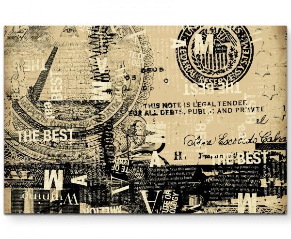 Abstrakter US-Dollar in Beigetönen - Leinwandbild