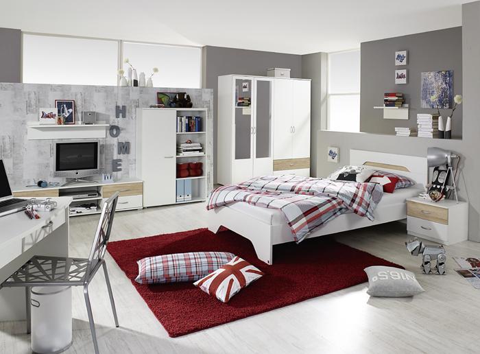 Kinderzimmer Noosa von RAUCHmöbel in Weiß- Eiche 8 teiliges Megaset