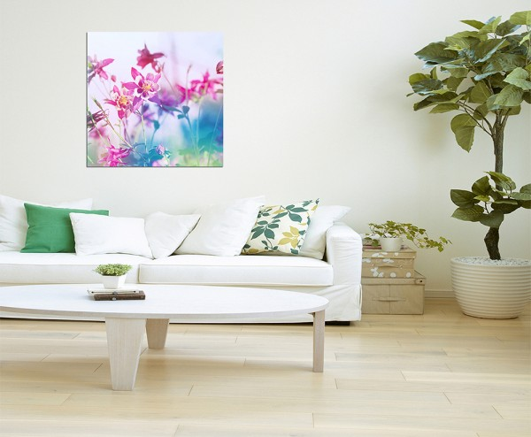 80x80cm Blumen Blüten Hintergrund Bunt