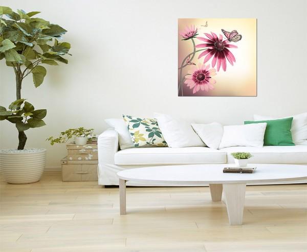 80x80cm Gerbera Gänseblümchen Schmetterling