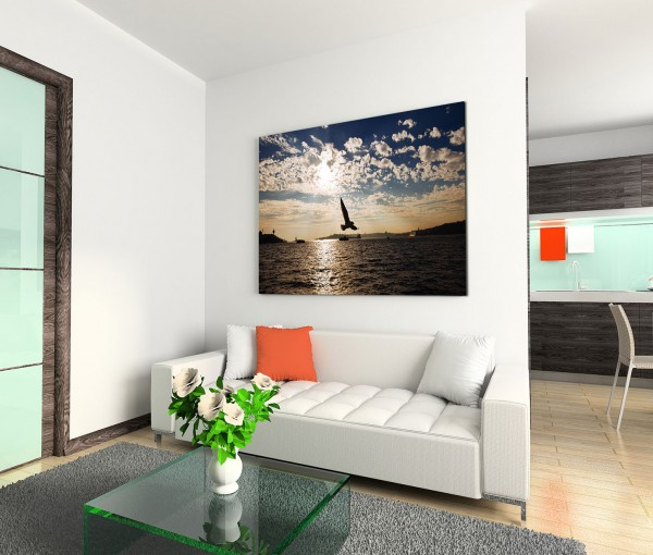 120x80cm Wandbild Istanbul Bosporus Fluss Vögel Abendsonne