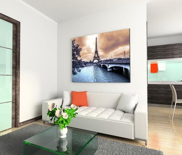 120x80cm Wandbild Paris Eiffelturm Seine Brücke Winter Wolken