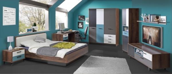 Jugendzimmer Raven 7 tlg. 120er Bett und 3trg. Kleiderschrank; Set mit Drehtürenschrank - Bett - Nac