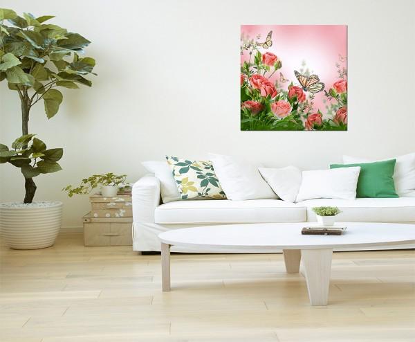 80x80cm Rosen Blüten Schmetterlinge Frühling