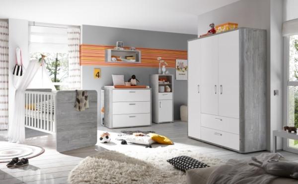 Babyzimmer Frieda in Vintage Wood Grey von Mäusbacher 8 teiliges Megaset mit Schrank, Bett mit Latte