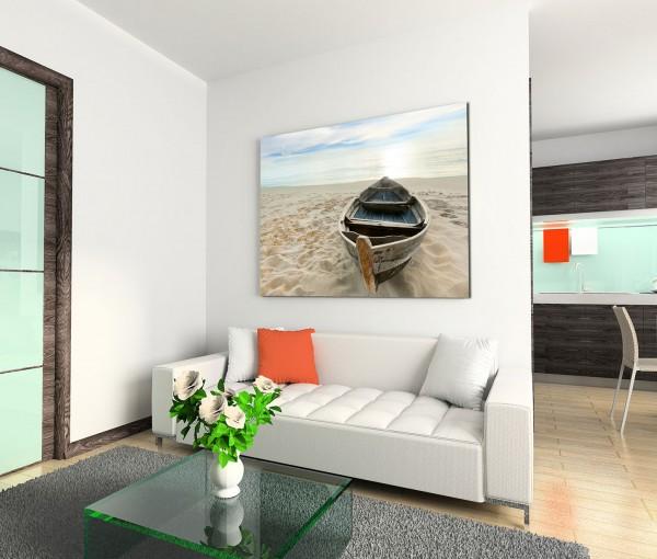 120x80cm Wandbild Sandstrand Meer Holzboot Sonnenaufgang