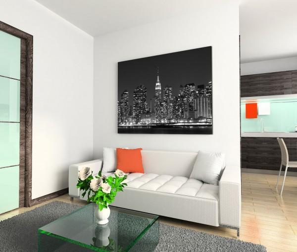 120x80cm Wandbild New York Manhattan Skyline Nacht Lichter