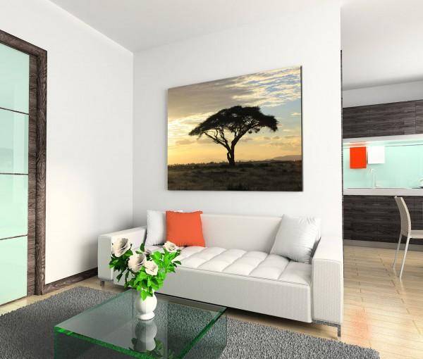 120x80cm Wandbild Afrika Savanne Baum Sonnenuntergang