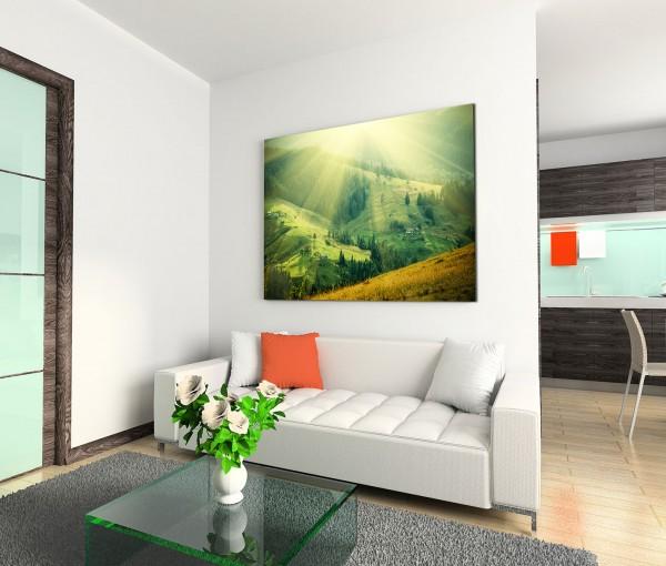 120x80cm Wandbild Berge Wiesen Wald Sonnenstrahlen Frühling