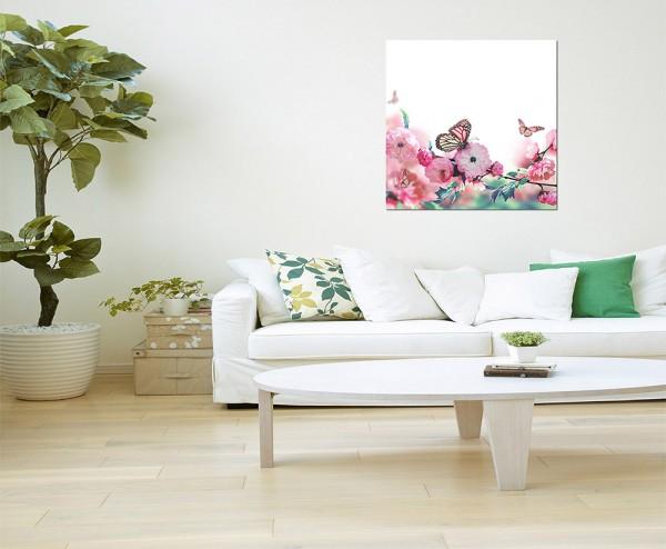 80x80cm Kirschblüte Orient Schmetterlinge