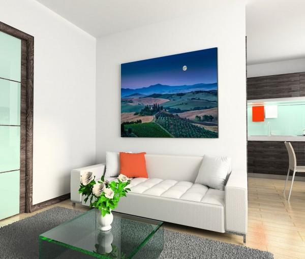 120x80cm Wandbild Toskana Landschaft Berge Wald Nacht Mond