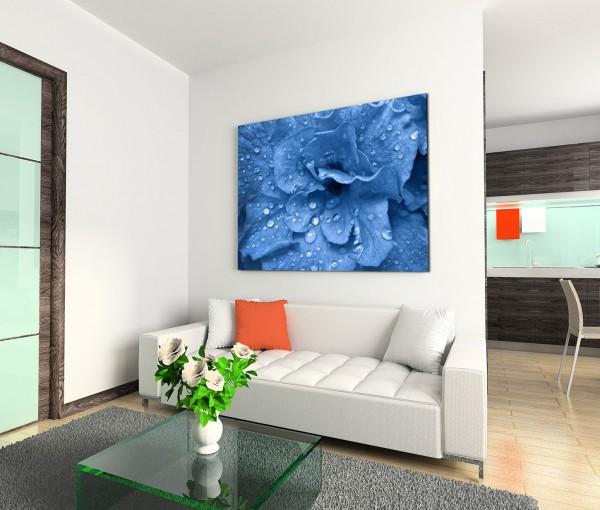 120x80cm Wandbild Blume Blüte Wassertropfen Nahaufnahme