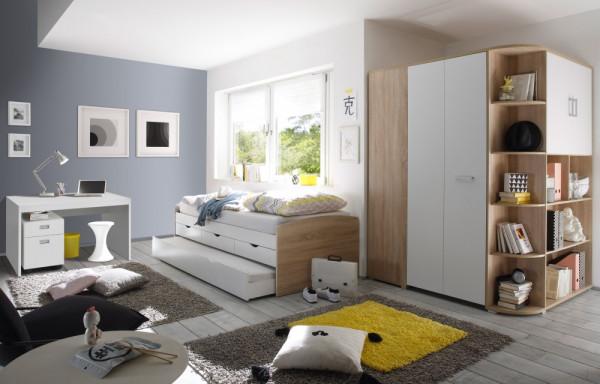 Jugendzimmer Nessi in Eiche Sonoma und Weiß 4 teilig +++ von möbel-direkt+++ schnell und günstig