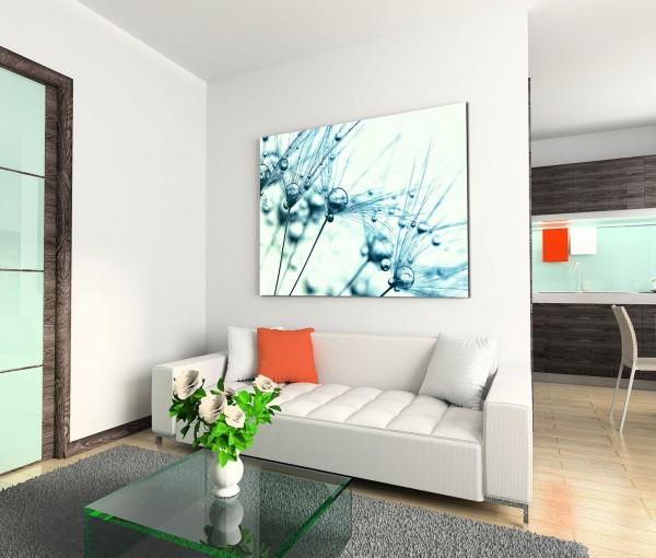 120x80cm Wandbild Pusteblumen Wassertropfen Nahaufnahme