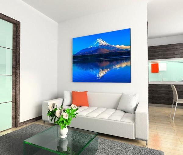 120x80cm Wandbild Shoji See Fuji Berg Abendlicht Spiegelung