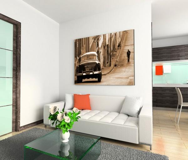120x80cm Wandbild Kuba Chevrolet Auto Häuser Straße