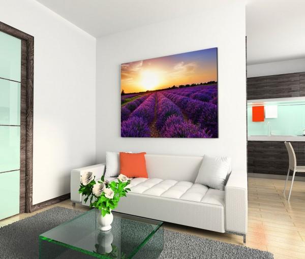 120x80cm Wandbild Frankreich Provence Lavendelfeld Sonnenuntergang