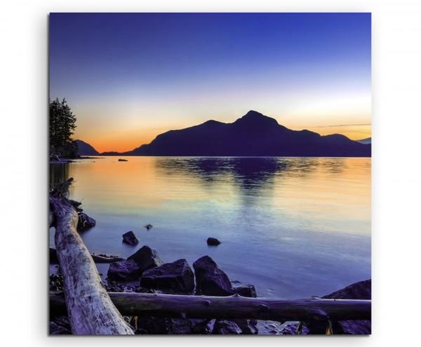 Landschaftsfotografie – Treibholz bei Sonnenuntergang auf Leinwand