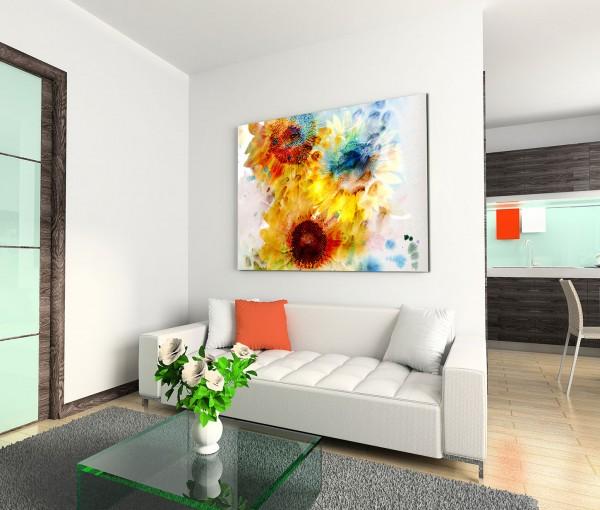 120x80cm Wandbild Sonnenblumen Malerei Wasserfarben