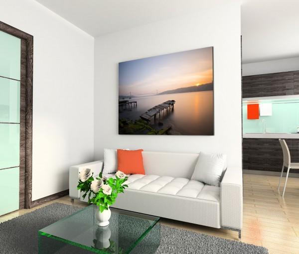 120x80cm Wandbild See Holzsteg Sonnenuntergang