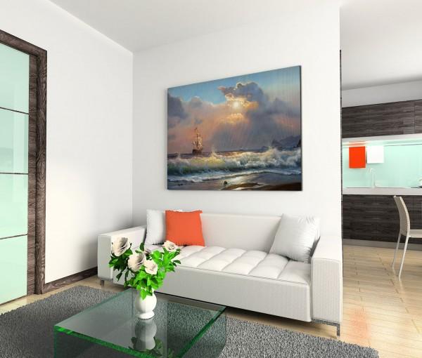 120x80cm Wandbild Ölgemälde Strand Meer Wellen Segelboot Wolken