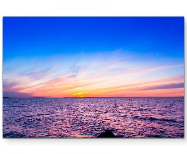 Paradiesischer Sonnenuntergang am See - Leinwandbild